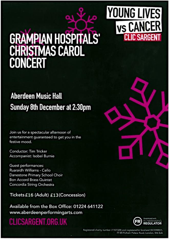 Grampian Hospitals Carols Concert poster