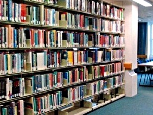 Book shelves in the Medical Library